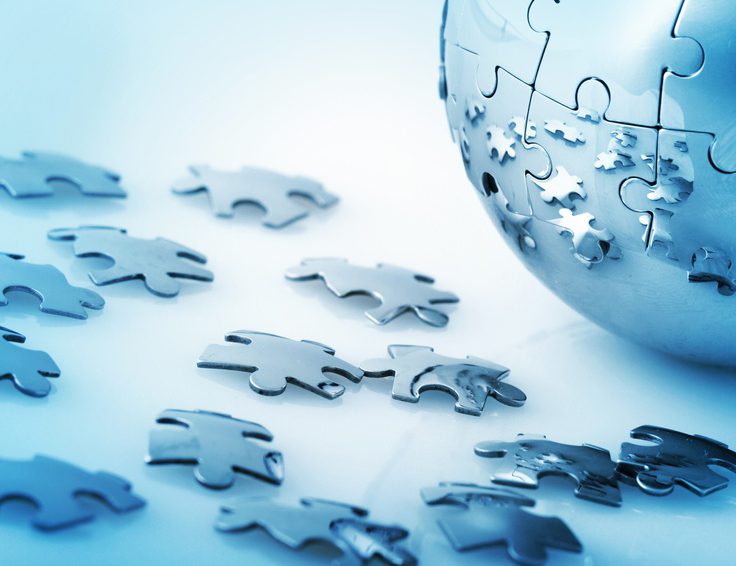 Puzzle, Global Communications, Globe.